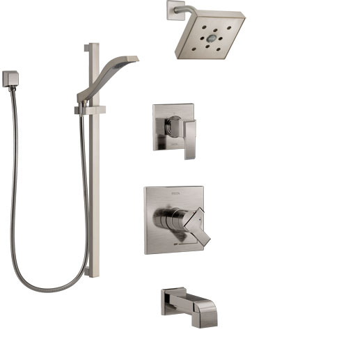 Delta Ara Stainless Steel Finish Tub and Shower System with Dual Control Handle, Diverter, Showerhead, and Hand Shower with Slidebar SS17467SS4