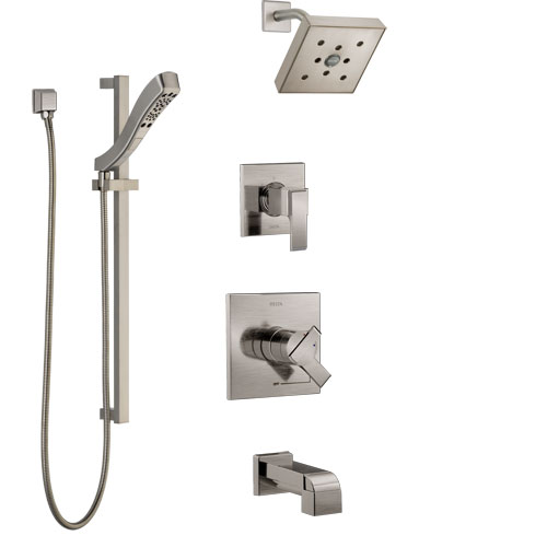 Delta Ara Stainless Steel Finish Tub and Shower System with Dual Control Handle, Diverter, Showerhead, and Hand Shower with Slidebar SS17467SS5