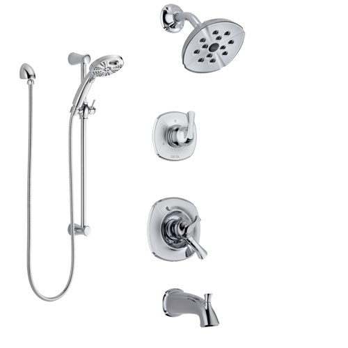 Delta Addison Chrome Finish Dual Control Handle Tub and Shower System, 3-Setting Diverter, Showerhead, and Temp2O Hand Shower with Slidebar SS174924