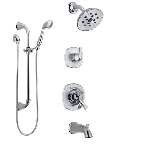 Delta Addison Chrome Finish Tub and Shower System with Dual Control Handle, 3-Setting Diverter, Showerhead, and Hand Shower with Slidebar SS174925
