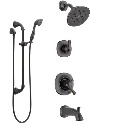 Delta Addison Venetian Bronze Tub and Shower System with Dual Control Handle, 3-Setting Diverter, Showerhead, and Hand Shower with Slidebar SS17492RB4