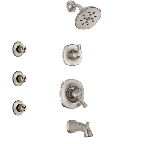 Delta Addison Stainless Steel Finish Tub and Shower System with Dual Control Handle, 3-Setting Diverter, Showerhead, and 3 Body Sprays SS17492SS1