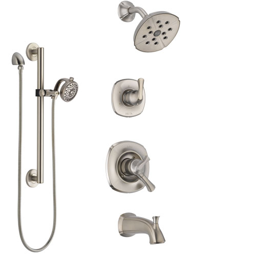 Delta Addison Stainless Steel Finish Tub and Shower System with Dual Control Handle, Diverter, Showerhead, and Hand Shower with Grab Bar SS17492SS4