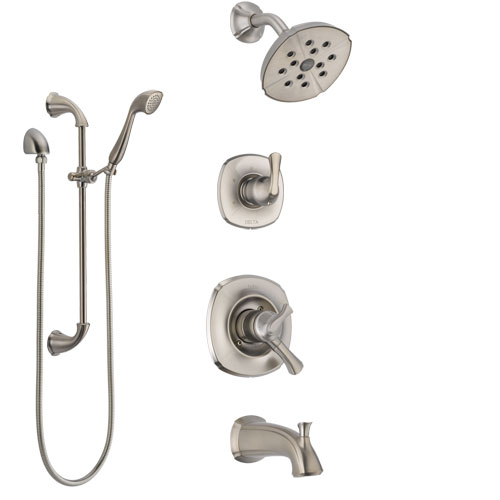 Delta Addison Stainless Steel Finish Tub and Shower System with Dual Control Handle, Diverter, Showerhead, and Hand Shower with Slidebar SS17492SS5