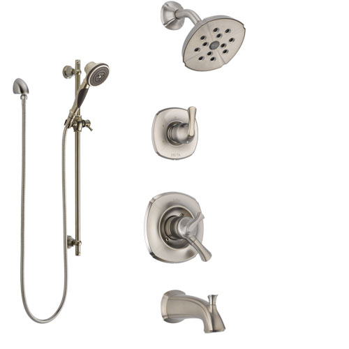 Delta Addison Stainless Steel Finish Tub and Shower System with Dual Control Handle, Diverter, Showerhead, and Hand Shower with Slidebar SS17492SS6