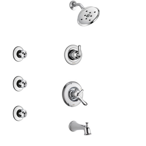 Delta Linden Chrome Finish Tub and Shower System with Dual Control Handle, 3-Setting Diverter, Showerhead, and 3 Body Sprays SS174942
