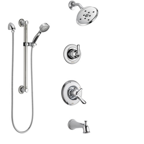 Delta Linden Chrome Finish Tub and Shower System with Dual Control Handle, 3-Setting Diverter, Showerhead, and Hand Shower with Grab Bar SS174944