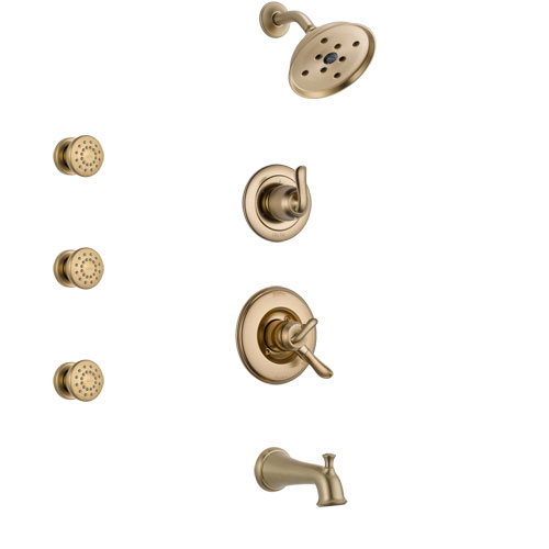 Delta Linden Champagne Bronze Finish Tub and Shower System with Dual Control Handle, 3-Setting Diverter, Showerhead, and 3 Body Sprays SS17494CZ1