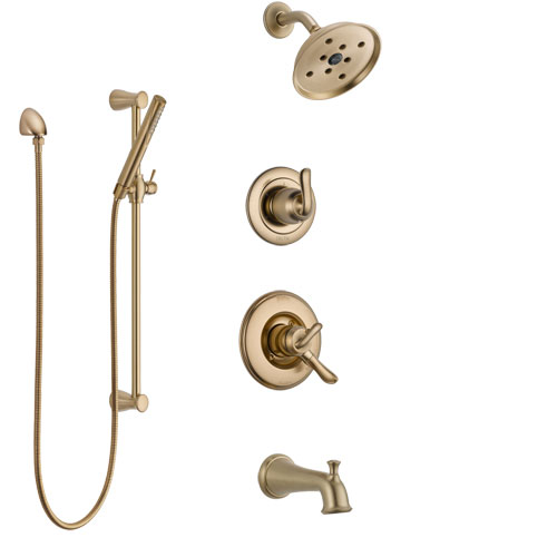 Delta Linden Champagne Bronze Tub and Shower System with Dual Control Handle, 3-Setting Diverter, Showerhead, and Hand Shower with Slidebar SS17494CZ2