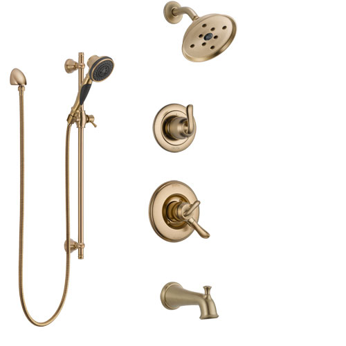 Delta Linden Champagne Bronze Tub and Shower System with Dual Control Handle, 3-Setting Diverter, Showerhead, and Hand Shower with Slidebar SS17494CZ3