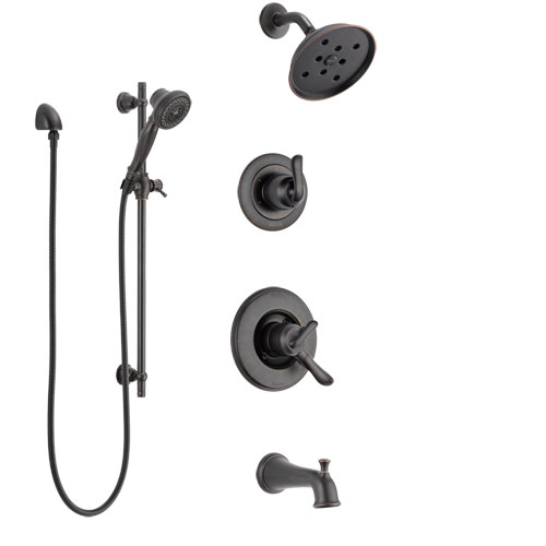Delta Linden Venetian Bronze Tub and Shower System with Dual Control Handle, 3-Setting Diverter, Showerhead, and Hand Shower with Slidebar SS17494RB4