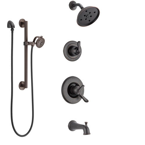 Delta Linden Venetian Bronze Tub and Shower System with Dual Control Handle, 3-Setting Diverter, Showerhead, and Hand Shower with Grab Bar SS17494RB5
