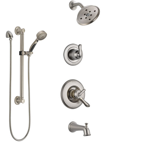 Delta Linden Stainless Steel Finish Tub and Shower System with Dual Control Handle, Diverter, Showerhead, and Hand Shower with Grab Bar SS17494SS3