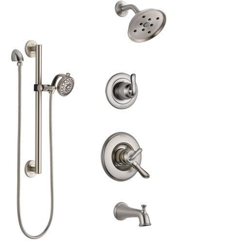 Delta Linden Stainless Steel Finish Tub and Shower System with Dual Control Handle, Diverter, Showerhead, and Hand Shower with Grab Bar SS17494SS4
