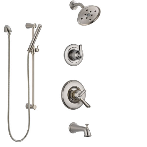 Delta Linden Stainless Steel Finish Tub and Shower System with Dual Control Handle, Diverter, Showerhead, and Hand Shower with Slidebar SS17494SS5