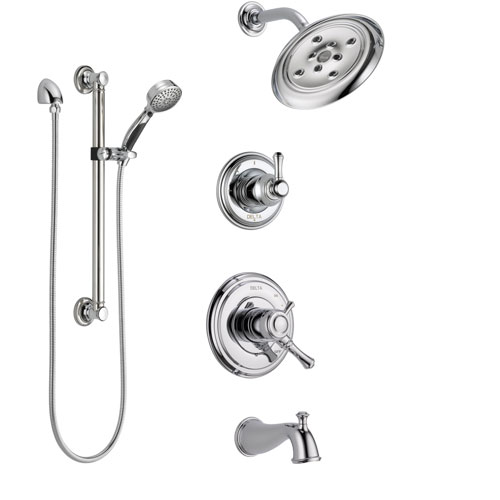 Delta Cassidy Chrome Finish Tub and Shower System with Dual Control Handle, 3-Setting Diverter, Showerhead, and Hand Shower with Grab Bar SS174973