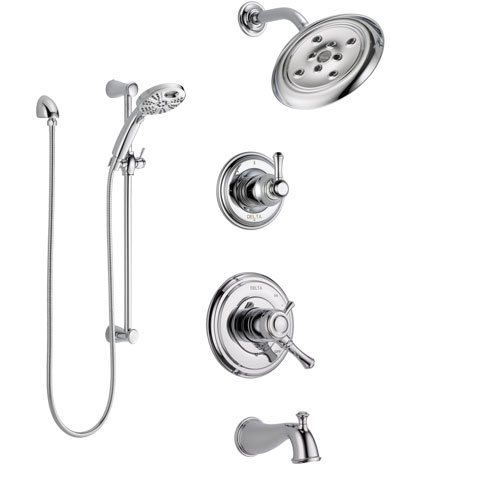 Delta Cassidy Chrome Finish Dual Control Handle Tub and Shower System, 3-Setting Diverter, Showerhead, and Temp2O Hand Shower with Slidebar SS174974