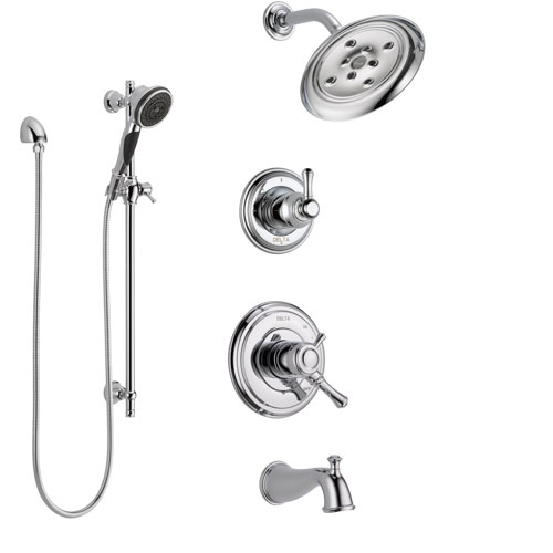 Delta Cassidy Chrome Finish Tub and Shower System with Dual Control Handle, 3-Setting Diverter, Showerhead, and Hand Shower with Slidebar SS174975