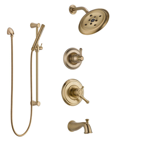 Delta Cassidy Champagne Bronze Tub and Shower System with Dual Control Handle, Diverter, Showerhead, and Hand Shower with Slidebar SS17497CZ2
