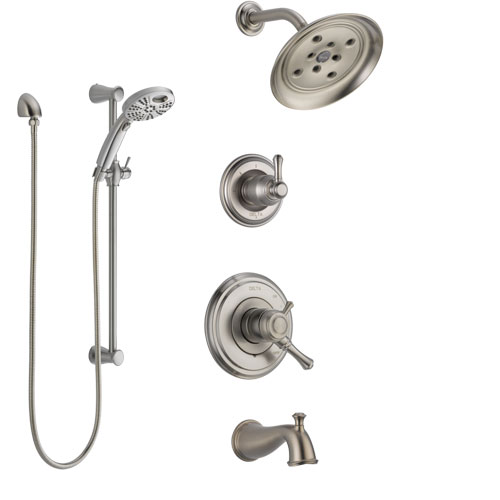 Delta Cassidy Stainless Steel Finish Tub and Shower System with Dual Control, Diverter, Showerhead, and Temp2O Hand Shower with Slidebar SS17497SS4