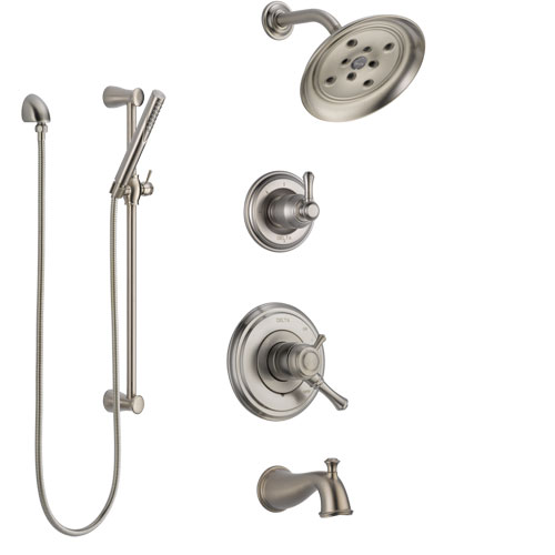 Delta Cassidy Stainless Steel Finish Tub and Shower System with Dual Control Handle, Diverter, Showerhead, and Hand Shower with Slidebar SS17497SS5