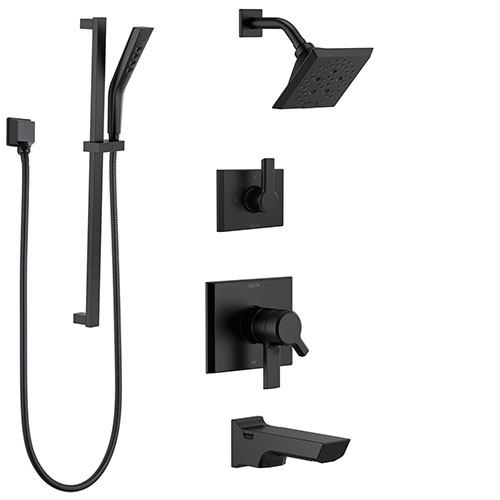 Delta Pivotal Matte Black Finish Modern Angular 17 Series Tub and Shower System with Hand Shower on Slide Bar and Multi-Setting Showerhead SS174993BL2