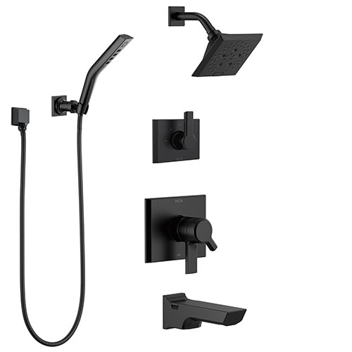 Delta Pivotal Matte Black Finish Modern Angular 17 Series Tub & Shower System with Hand Shower + Wall Bracket and Multi-Setting Showerhead SS174993BL3
