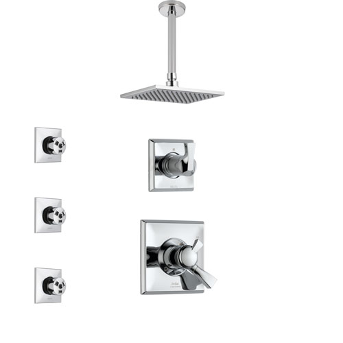 Delta Dryden Chrome Finish Shower System with Dual Control Handle, 3-Setting Diverter, Ceiling Mount Showerhead, and 3 Body Sprays SS17517