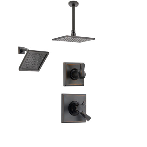delta dryden venetian bronze shower system with dual control shower handle 3setting diverter large modern rain square shower head and wall mount