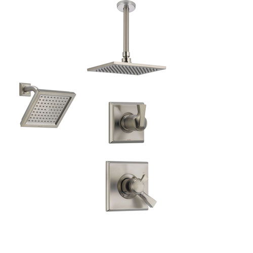 Delta Dryden Stainless Steel Shower System with Dual Control Shower Handle, 3-setting Diverter, Large Square Ceiling Mount Showerhead, and Wall Mount Modern Showerhead SS175184SS