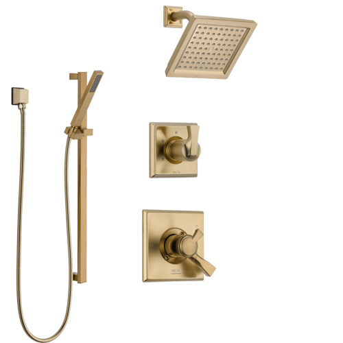 Delta Dryden Champagne Bronze Finish Shower System with Dual Control Handle, 3-Setting Diverter, Showerhead, and Hand Shower with Slidebar SS1751CZ1