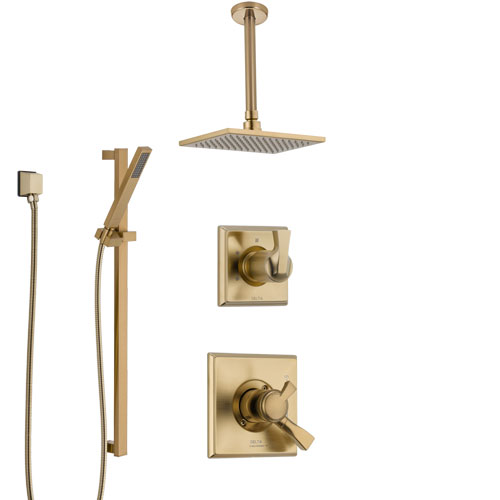 Delta Dryden Champagne Bronze Shower System with Dual Control Handle, Diverter, Ceiling Mount Showerhead, and Hand Shower with Slidebar SS1751CZ6