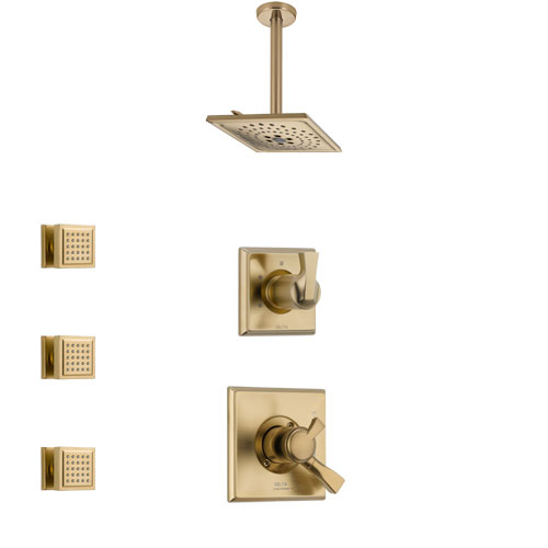 Delta Dryden Champagne Bronze Finish Shower System with Dual Control Handle, 3-Setting Diverter, Ceiling Mount Showerhead, and 3 Body Sprays SS1751CZ8