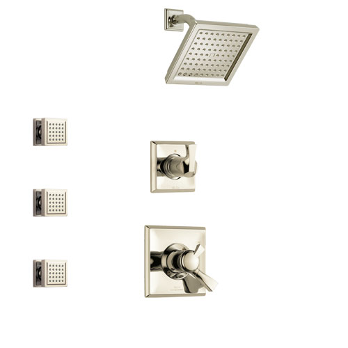 Delta Dryden Polished Nickel Finish Shower System with Dual Control Handle, 3-Setting Diverter, Showerhead, and 3 Body Sprays SS1751PN1