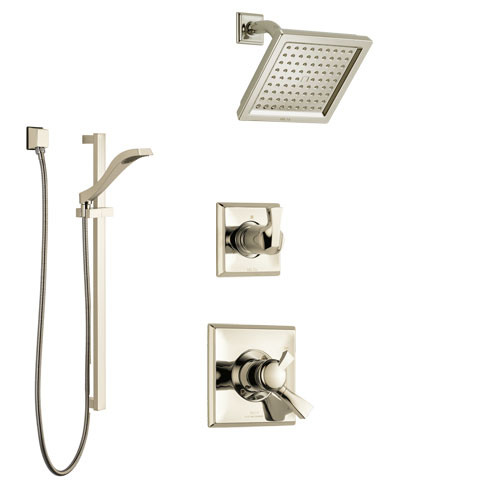 Delta Dryden Polished Nickel Finish Shower System with Dual Control Handle, 3-Setting Diverter, Showerhead, and Hand Shower with Slidebar SS1751PN2
