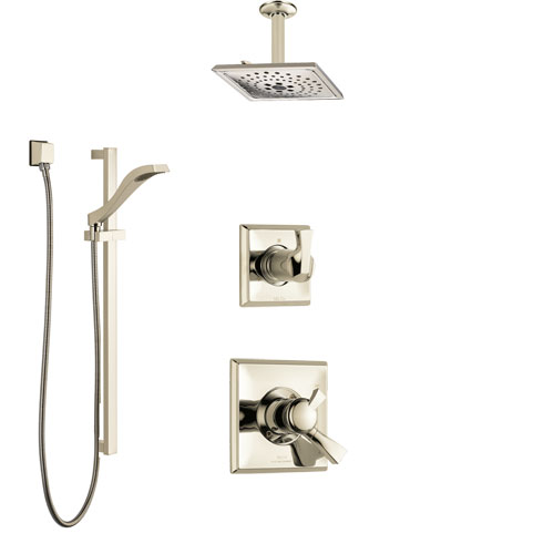 Delta Dryden Polished Nickel Shower System with Dual Control Handle, Diverter, Ceiling Mount Showerhead, and Hand Shower with Slidebar SS1751PN3