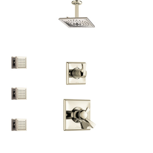 Delta Dryden Polished Nickel Finish Shower System with Dual Control Handle, 3-Setting Diverter, Ceiling Mount Showerhead, and 3 Body Sprays SS1751PN5