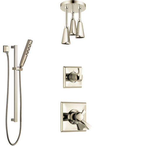 Delta Dryden Polished Nickel Shower System with Dual Control Handle, Diverter, Ceiling Mount Showerhead, and Hand Shower with Slidebar SS1751PN8