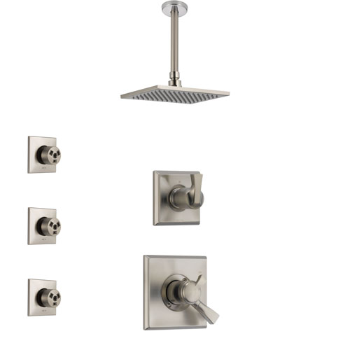Delta Dryden Stainless Steel Finish Shower System with Dual Control Handle, 3-Setting Diverter, Ceiling Mount Showerhead, and 3 Body Sprays SS1751SS7