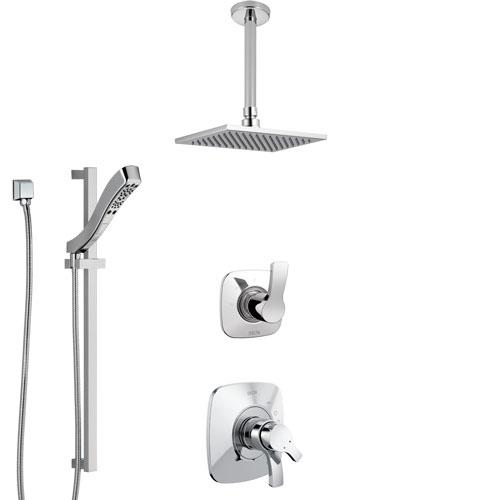 Delta Tesla Chrome Finish Shower System with Dual Control Handle, 3-Setting Diverter, Ceiling Mount Showerhead, and Hand Shower with Slidebar SS17522