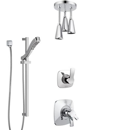 Delta Tesla Chrome Finish Shower System with Dual Control Handle, 3-Setting Diverter, Ceiling Mount Showerhead, and Hand Shower with Slidebar SS17526