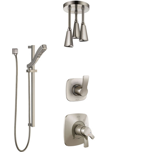 Delta Tesla Stainless Steel Finish Shower System with Dual Control Handle, Diverter, Ceiling Mount Showerhead, and Hand Shower with Slidebar SS1752SS4