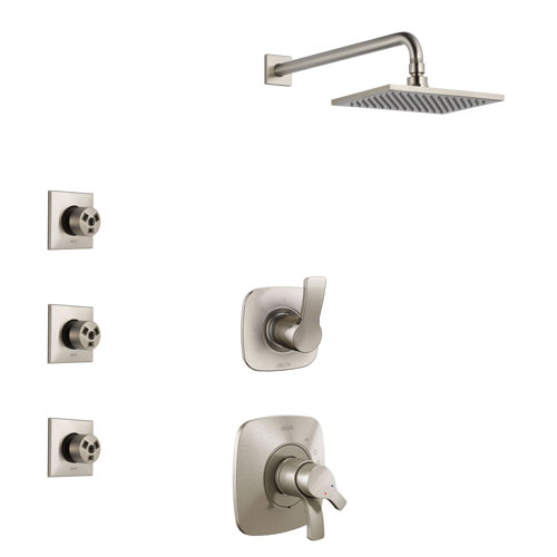 Delta Tesla Stainless Steel Finish Shower System with Dual Control Handle, 3-Setting Diverter, Showerhead, and 3 Body Sprays SS1752SS7
