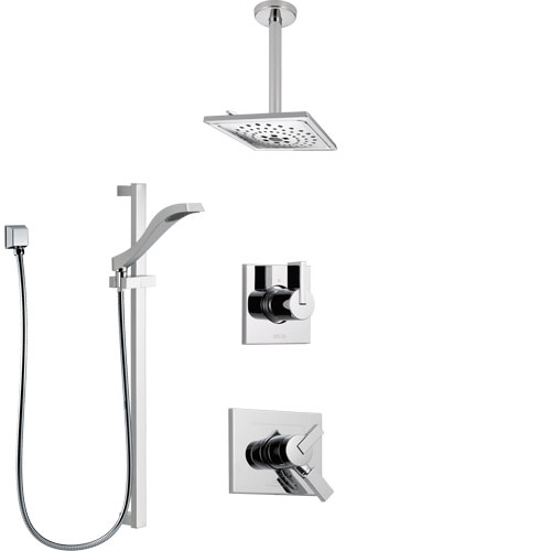 Delta Vero Chrome Finish Shower System with Dual Control Handle, 3-Setting Diverter, Ceiling Mount Showerhead, and Hand Shower with Slidebar SS17531