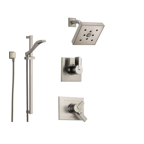 Delta vero stainless steel shower system with dual control shower hand for Delta bathroom shower systems
