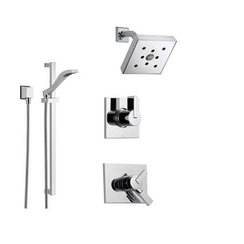 Delta Vero Chrome Shower System with Dual Control Shower Handle, 3-setting Diverter, Modern Showerhead, and Handheld Shower SS175381