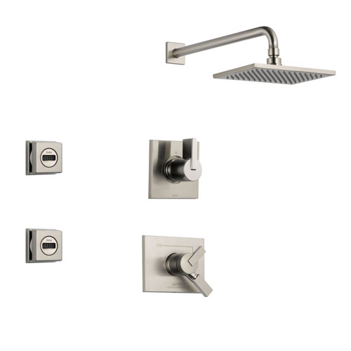 Delta Vero Stainless Steel Shower System with Dual Control Shower Handle, 3-setting Diverter, Large Square Rain Showerhead, and 2 Body Sprays SS175382SS