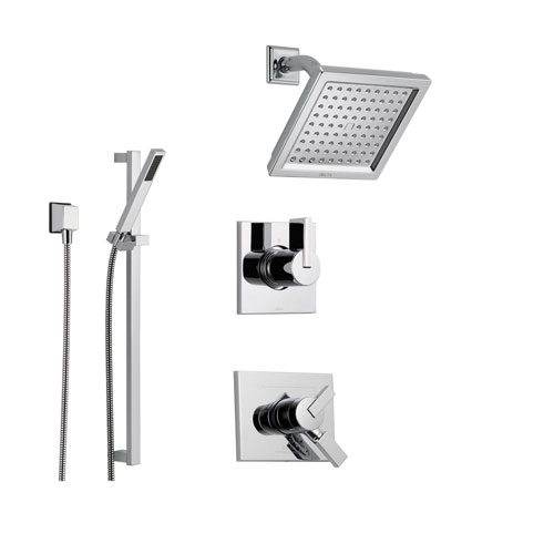 Delta Vero Chrome Shower System with Dual Control Shower Handle, 3-setting Diverter, Modern Square Showerhead, and Handheld Shower SS175385