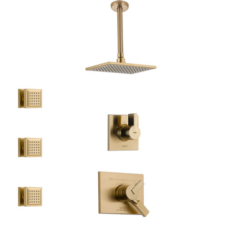 Delta Vero Champagne Bronze Finish Shower System with Dual Control Handle, 3-Setting Diverter, Ceiling Mount Showerhead, and 3 Body Sprays SS1753CZ5