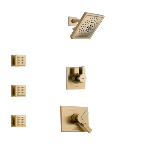 Delta Vero Champagne Bronze Finish Shower System with Dual Control Handle, 3-Setting Diverter, Showerhead, and 3 Body Sprays SS1753CZ6